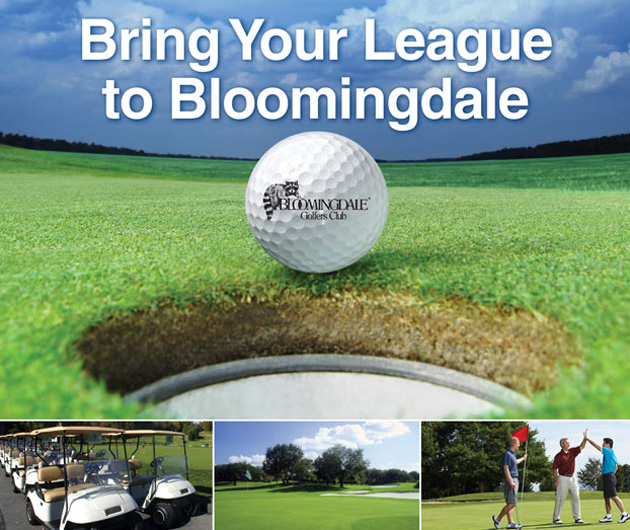 Photo collage with text that reads Bring Your League to Bloomingdale and features close up of Bloomingdale Logo golf ball, a line of golf carts, a golf course fairway with flag stick in distance and three male golfer's celebrating on the green
