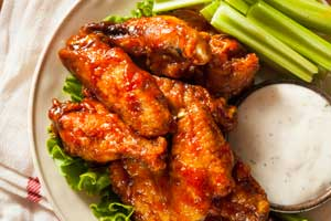 Chicken Wings with celery and dip